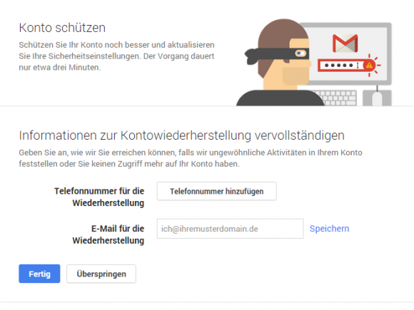 Google for Work Security Wizard (Screenshot: ZDNet.de)
