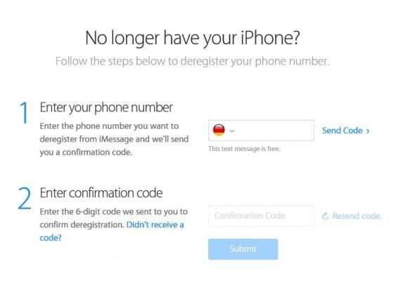 Apples webbasiertes Tool erlaubt es, auch im Nachhinein eine Registrierung für iMessage aufzuheben (Bild: Apple).