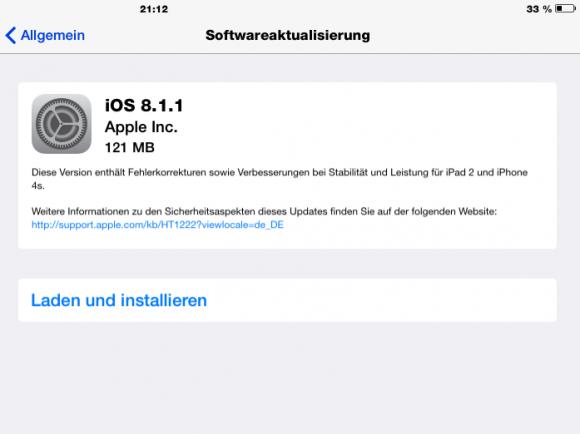 iOS 8.1.1 schließt unter anderem die für den Pangu-Jailbreak verwendeten Sicherheitslücken (Screenshot: ZDNet.de).