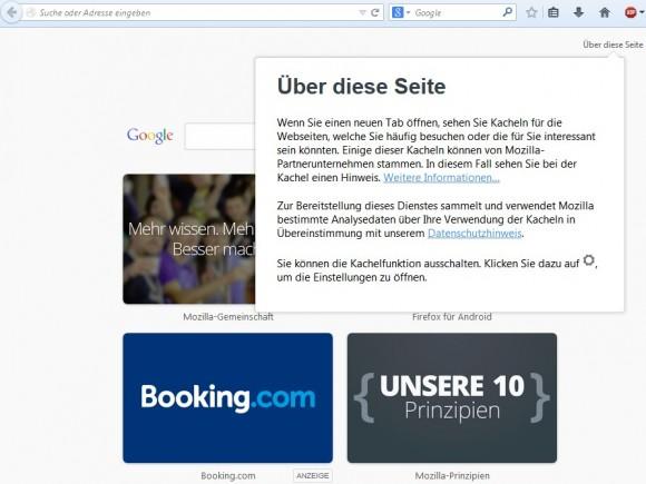 """Mozilla zeigt auf der Seite """"Neuer Tab"""" ab sofort auch Werbung an (Screenshot: ZDNet.de)."""