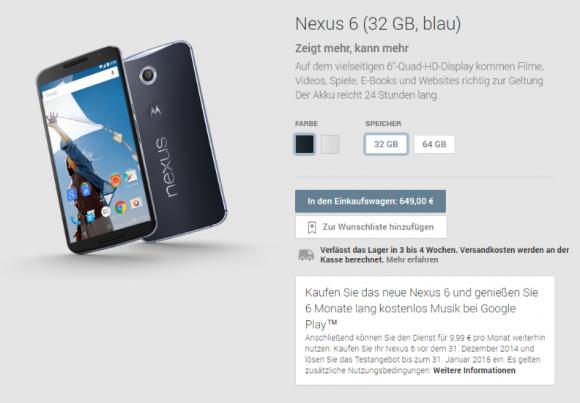 """Für die 32-GByte-Version des Nexus 6 gilt im Play Store eine Versandzeit von """"3 bis 4 Wochen"""". Die 64-GByte-Ausführung ist je nach Farbe bereits vergriffen oder noch nicht verfügbar (Screenshot: ZDNet.de)."""