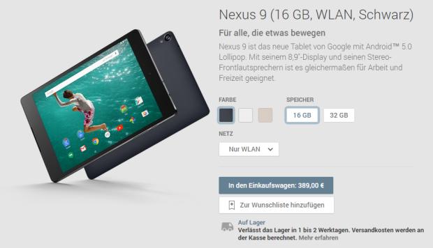 Das Nexus 9 ist ab sofort im deutschen Play Store erhältlich (Screenshot: ZDNet.de).