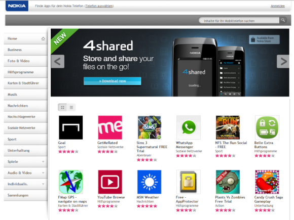 Microsoft ersetzt den Nokia Store bis spätestens Mitte 2015 durch den Opera Mobile Store (Screenshot: ZDNet.de).