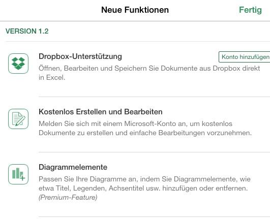 Office für iPad: In Verbindung mit einem Microsoft-Konto ist die Bearbeitung von Dokumenten für Privatanwender kostenlos. Für die Modifikation von Diagrammelementen wird ein Office-365-Abo-benötigt (Screenshot: ZDNet.de)