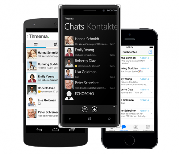 Threema liegt nun für Android, iOS und Windows Phone vor (Bild: Threema).