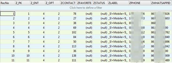 Laut Trend Micro ist auch die Datenbank von WhatsApp unter iOS nicht verschlüsselt (Screenshot: Trend Micro).