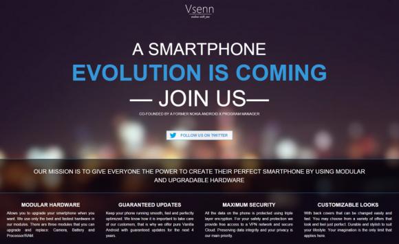 """Im Augenblick hat Vsenn nur eine Website, aber bereits im März 2015 soll das erste """"No-Bullshit""""-Smartphone der Finnen erhältlich sein (Screenshot: ZDNet.de)."""
