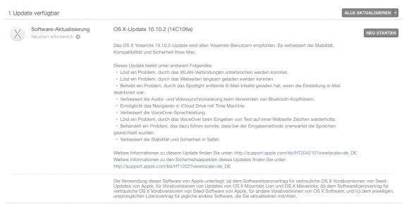 OS X 10.10.2 Update (Screenshot: ZDNet.de)