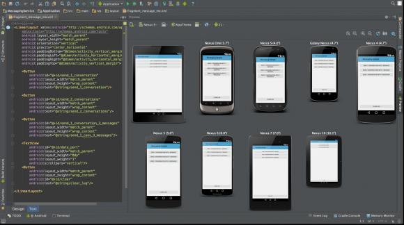 Mit Android Studio können Entwickler die Oberflächen ihrer Apps im Emulator parallel auf verschiedenen Bildschirmgrößen und in unterschiedlichen Sprachen testen und bearbeiten (Bild: Google).