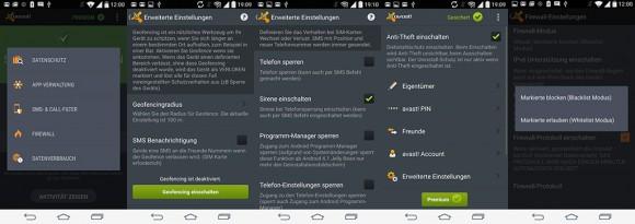Avast Mobile Security & Antivirus bietet eine Firewall und einen Diebstahlschutz (Bild: ZDNet.de).
