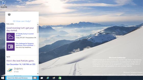 Das Windows-10-Build 9901 integriert den Assistenten Cortana (Screenshot: Paul Thurrott).