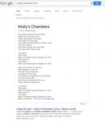 Songtext auf Suchergebnisseite von Google (Screenshot: Glenn Gabe)