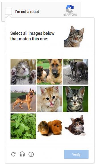 Auf Mobilgeräten müssen Anwender Bilderrätsel lösen (Bild: Google).