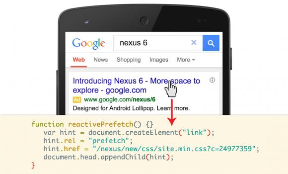 Ein Beispiel dafür, wie Reactive Prefetch eingesetzt werden kann, um das Laden eines Style Sheet zu beschleunigen, das das Aussehen einer Website bestimmt (Bild: Google)