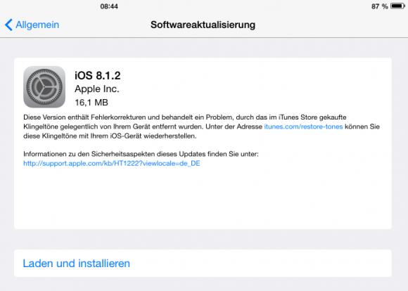 iOS 8.1.2 bringt verschwundene, bei iTunes gekaufte Klingeltöne zurück (Screenshot: ZDNet.de).