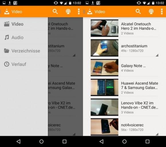 Die mobile Version des VLC Media Player spielt wie die Desktop-Varianten alle gängigen Medienformate ab (Bild: CNET.de).