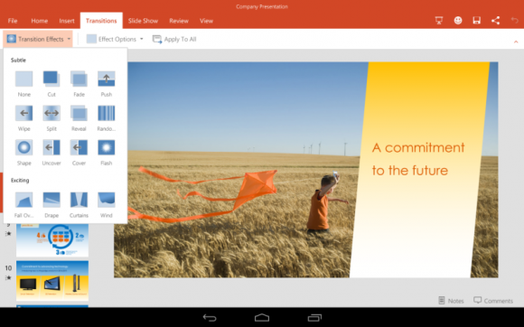 PowerPoint für Android-Tablets (Bild: Microsoft)