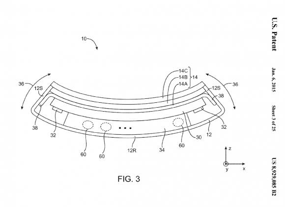 """Apple hat ein Patent für ein """"flexibles elektronisches Gerät"""" erhalten (Bild: USPTO)."""
