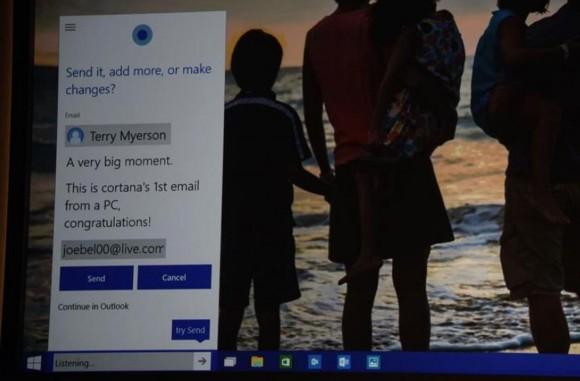 Durch die Integration des digitalen Assistenten Cortana in Windows 10 können Nutzer künftig per Sprachbefehl auch E-Mails schreiben (Bild: Nate Ralph/CNET).
