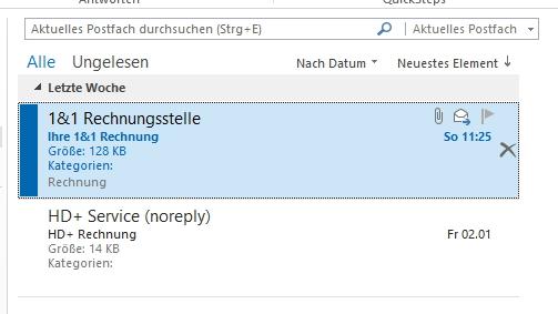 Outlook zeigt nicht gelesene E-Mails besonders formatiert an (Screenshot: Thomas Joos)
