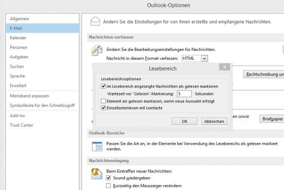 In den Optionen von Outlook lassen sich wichtige Einstellungen vornehmen, die das effiziente Lesen von E-Mails betreffen (Screenshot: Thomas Joos).