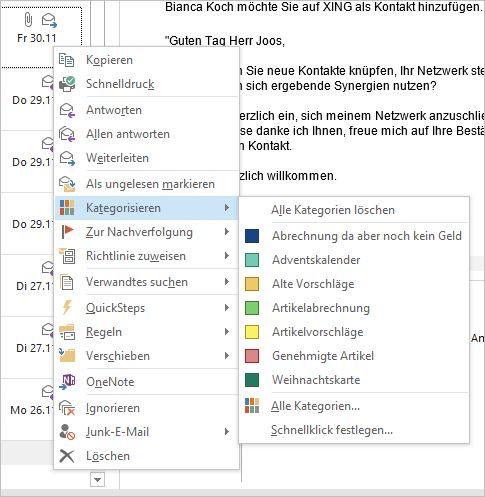 E-Mails kategorisieren Anwender über das Kontextmenü (Screenshot: Thomas Joos).