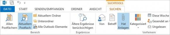 Verwenden der Registerkarte Suchtools/Suche nach der Aktivierung von E-Mail-Filtern (Screenshot: Thomas Joos)