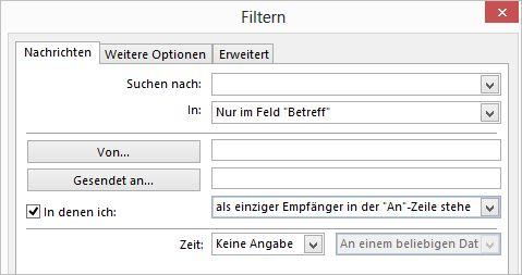 Festlegen eines E-Mail-Filters für die bedingte Formatierung (Screenshot: Thomas Joos)