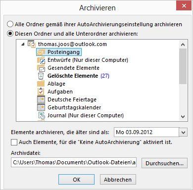 Starten und steuern der Archivierung von Outlook 2013 (Screenshot: Thomas Joos)