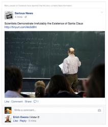 Einträge wie diesen kennzeichnet Facebook nach entsprechenden Meldungen von Nutzern künftig als Falschmeldungen und verringert die Verbreitung im News Feed (Bild: Facebook).