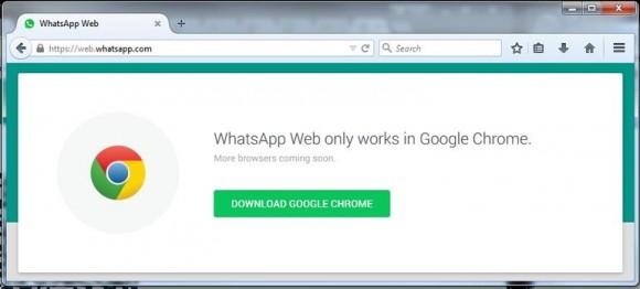 In Firefox startet der Webclient von WhatsApp vorerst nicht (Screenshot: ZDNet.com).