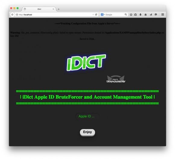 Mit dem kurz vor dem Wochenende veröffentlichten Tool iDict konnte das Passwort eines beliebigen Apple-Kontos geknackt werden (Screenshot: ZDNet.de).