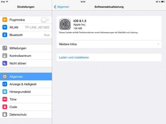 Apple schließt mit iOS 8.1.3 unter anderem drei Sicherheitslücken, die für verschiedene Jailbreaks benutzt wurden (Screenshot: ZDNet).