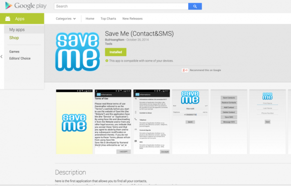 "Malware ""Save me"" in Google Play (Screenshot: Lookout Security)"