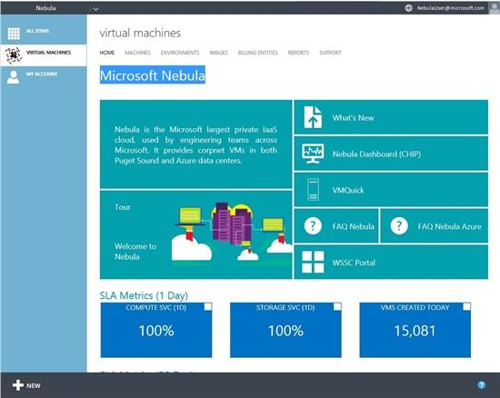 Nebula-Selbstbedienungsportal für Entwickler (Screenshot: Microsoft)