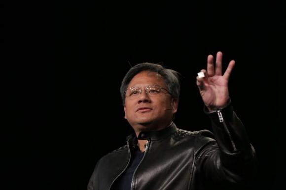 Nvidia-CEO Jen-Hsun Huang hat auf der CES in Las Vegas den Mobil-Chip Tegra X1 vorgestellt, der eine Rechenleistung von einem Teraflop erreicht (Bild: Nvidia).