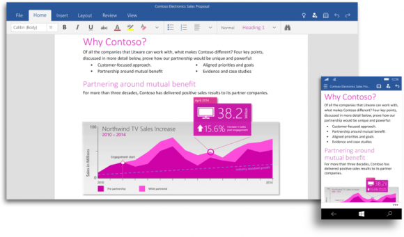 """Die """"Office für Windows 10""""-Apps lassen sich auf verschieden großen Geräten einsetzen. Word passt dabei die Darstellung automatisch an (Bild: Microsoft)."""