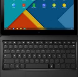 Das Remix hebt sich durch Tastatur und Taskleiste von Android-Tablets ab (Bild: Jide).