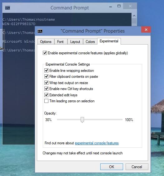 Windows 10 bietet auch Verbesserungen in der Befehlszeile (Screenshot: Thomas Joos).