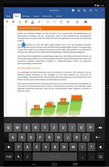 Microsoft Word unter Android (Bild: Microsoft)