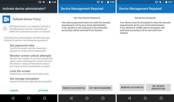 Outlook für Android setzt jetzt Passwortvorgaben durch (Bild: Microsoft).
