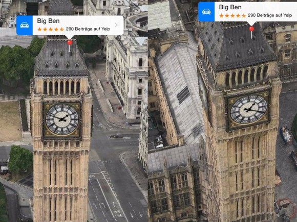 Apple Karten: Big Ben (Screenshot: ZDNet.de)