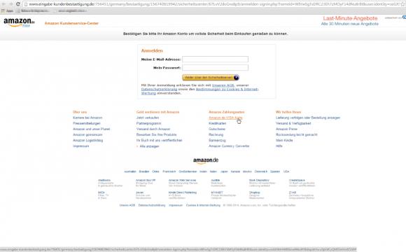 Der in den Phishing-Mails enthaltene Link führt auf eine täuschend echt aussehende Anmeldeseite, über die die Betrüger die Amazon-Kontodaten abgreifen (Screenshot: Retarus).
