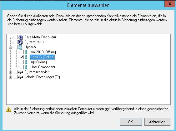 Virtualisierte Linux-Server lassen sich auch mit der Windows-Server-Sicherung effizient und online sichern (Screenshot: Thomas Joos).