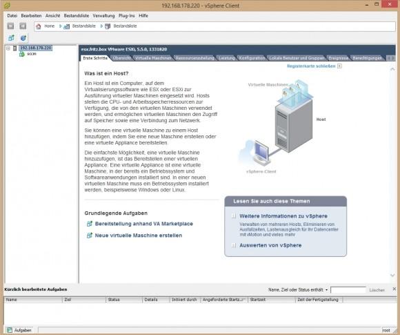 Linux kann auch mit VMware Hypervisor aka ESXi virtualisiert werden (Screenshot: Thomas Joos).