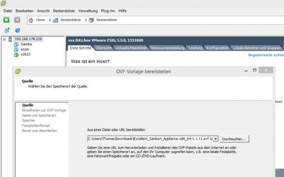 Im Assistenten lassen sich OVF-Dateien importieren und als VM bereitstellen (Screenshot: Thomas Joos).