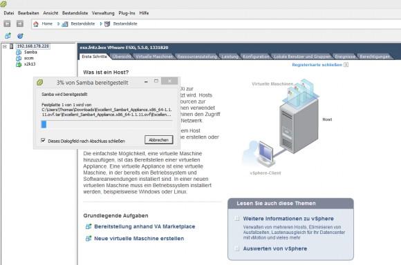 VMware ESXi lädt die lokale Festplatte der Samba4-Appliance in den eigenen Datenspeicher (Screenshot: Thomas Joos).