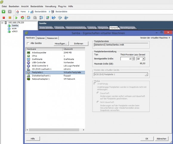 Nach dem Import der virtuellen Appliance sollten Administratoren deren Einstellungen überarbeiten (Screenshot: Thomas Joos).