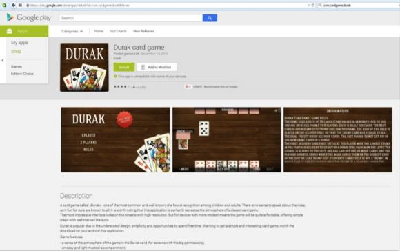 Die inzwischen gelöschte Kartenspiel-App Durak wurde millionenfach installiert (Screenshot: Avast).