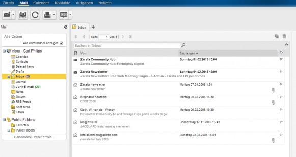 Zarafa bietet auch einen Webzugriff für E-Mails (Screenshot: Thomas Joos).
